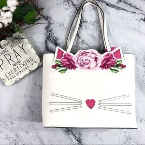 NEW Betsey Johnson kitty roses floral tote